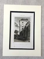 1830 Tower Wall of Philip II Augustus Paris France Antique Engraving Print