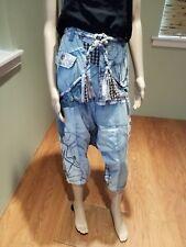 Desigual Harem Patchwork Jeans with Attached Belt Size 32 NWOT