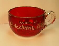 Old Antique EAPG Souvenir Ruby Red Flash Glass Cup Galesburg WI Wis Shawano CO
