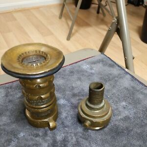 VINTAGE BRASS FIRE HOSE ADJUSTABLE NOZZLE MADE BY ELKHART/ Adaptor