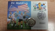 Numisbrief Niue XV. WorldCup 1994 USA  5 Dollars 1991 Silber PP
