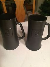 "Playboy Black Mugs Set of 2 Glass Cups 6.25"" Tall Tankard Beer Coffee"