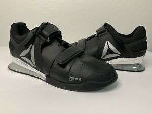 Mens Reebok black and silver crossfit lifter shoes with straps and laces size 9