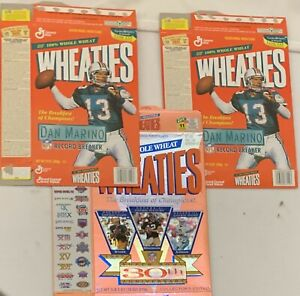 Wheaties Super Bowl 30th Anniversary and 2 Dan Marino Boxes