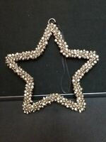 """Christmas Wreath Mini Silver Bells Star shaped Hanging decoration 9"""""""