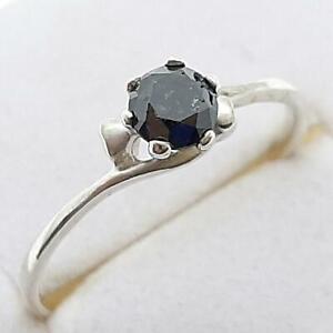 $999 14K White gold plate/925 Genuine .34ctw Fancy Black Diamond Engagement Ring
