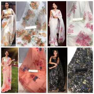 Organza Silk Designer Bollywood Wedding Indian Ethnic Women Fancy Wear Sari