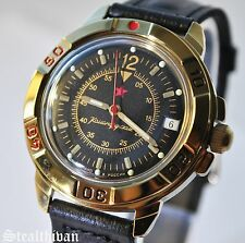Vostok Russian Watch Men's Military Mechanical Date Analog Leather 439399 New