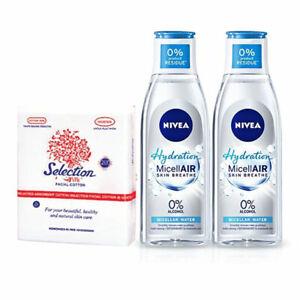 [NIVEA] MicellAir Hydration Makeup Remover 2x200ml + Natural Facial Cotton Pads
