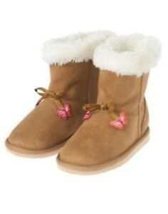 GYMBOREE BUTTERFLY GIRL TAN BUTTERFLY DANGLE SHERPA BOOTS 03 6 8 9 10 NWT