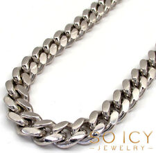 "heavy Miami Curb Cuban Chain Mens 22-26"" 8.8mm 10k White Real Gold Solid"