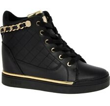 GUESS Trainers Size 7/40 Black & Gold Chain Wedge High Top Women's Sneakers New