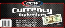 1 Pack of 25 BCW Currency Topload Holder for Regular Bills Rigid/Hard