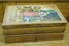 Large Contemporary Wood Jewelry Box w/ Fancy Detail On Sides - Needs Hinge Work