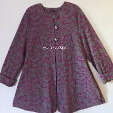 NEW JERSEY softe Long Jacke Jersey Strukturgewebe  A-Linie grau-pink 46-48 (4)