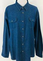 Wrangler Premium Denim Utility Shirt Mens Size 3XL Long Sleeve Blue Pockets