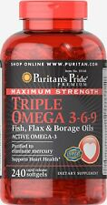 Puritan's Pride Max Strength Triple Omega 3-6-9 Fish, Flax & Borage Oils x 240