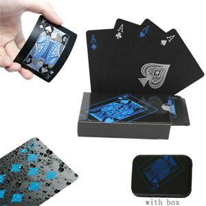 Creative Waterproof PVC Plastic Poker Playing Card Black Table Game Magic Props
