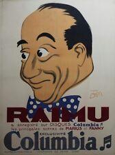 """""""RAIMU s/ DISQUES COLUMBIA"""" Affiche originale entoilée Litho DON (Marcel PAGNOL)"""