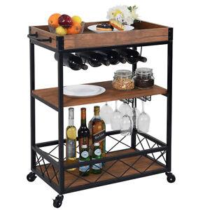Industrial Bar Cart Kitchen Serving Island Liquor Wine Cart with 3-Tier Shelves