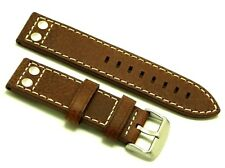22mm Brown HQ Double Rivet Style Oily Cowhide Leather Watch Band Silver Buckle