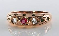 LUSH 9CT ROSE GOLD STAR OF DAVID INDIAN RUBY DIAMOND GYPSY RING FREE RESIZE