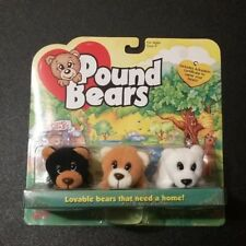 1997 Galoob Pound Puppies Bears Stuffed Plush with Box and Adoption Certificate