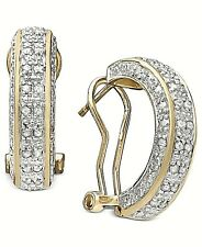 ROSE CUT 1/2CT DIAMOND  Womens HOOP EARRINGS  18K GOLD 925 STERLING SILVER  $200