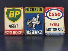 BP / MICHELIN / ESSO Vintage Style METAL SIGN Garage Wall Decor 30x40Cm Set Of 3