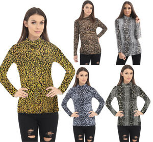 Ladies Animal Leopard Print polo Top Women's Turtle Roll Neck T-Shirt Size 8-24