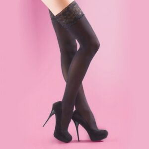 Quality Hold Ups UK Soft Opaque Lace Top 40 Denier Hold Ups New Black