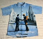 *VTG*Pink Floyd Dragonfly Wish You Were Here Button Front Shirt Blue Graffiti  L