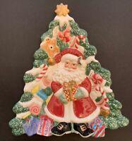 "Fitz and Floyd Holiday Tree Santa Canape Plate Triangular 9.5""w x 10 1/4""h"