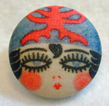 """1920s Flapper Girl Button Hand Printed Fabric """" Elaine 7/8 """" Free Us Shipping"""