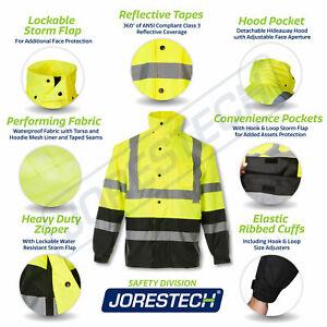 Safety Rain Jacket Reflective Green Hi-Vis Raincoat Rainjacket w Hood S-5XL