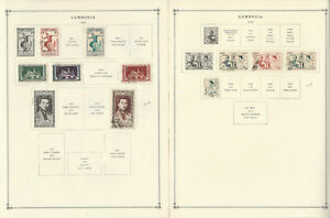 Cambodia Stamp Collection on 4 Scott International Pages, 1952-1955, JFZ