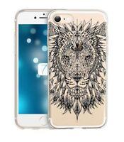 Coque iphone 6 6S lion jungle wild tatoo doodling noir transparente