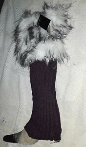 Women Fashion Legg Warmer Eggplant Purple Faux Fur Trim Knee Leggings