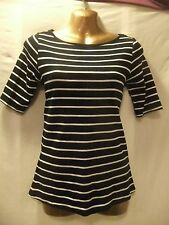 LADIES Bhs 10 BLACK+WHITE STRIPE STRETCH/METALLIC BUTTON TRIM/MID-SLEEVED CASUAL