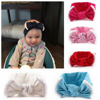 Girls Kids Baby Cotton Bow Hairband Headband Stretch Turban Knot Head Wrap Cute