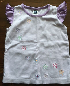 Toddler Girl Size 3 3T Baby Gap Purple Floral Shirt Top