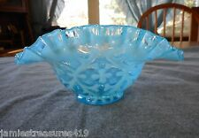 NORTHWOOD BLUE OPALESCENT SPANISH LACE OPALINE BROCADE TWO SIDES UP BOWL