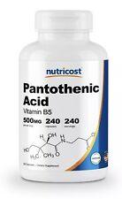 Nutricost Pantothenic Acid (Vitamin B5) 500mg, 240 Capsules - High Quality