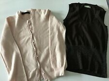 Pink Cashmere Faulty Cardigan Brown Tank Top Small Size for Upcycling Crafting