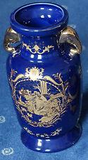 Chinesische Porzellan Vase m. Henkel Kobalt Gold 20cm
