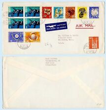 Switzerland 1965 Commercial Airmail Cover to USA #471-72 470 B350-54 Animals ITU