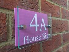 Moderne Maison Signe Plaque Porte Numéro Rue Verre Effet Acrylique Rose Nom