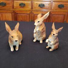 Set 3 Vintage Lefton Porcelain Brown Rabbits Hare Figurines #H6661 & 6664~Easter