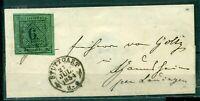 Württemberg,  Wertziffer im Quadrat Nr. 3 Typ III EF auf Brief