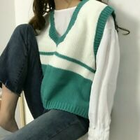 Womens Knit Vest Jumper Pullover V Neck Sleeveless Sweater Knitwear Casual Cute